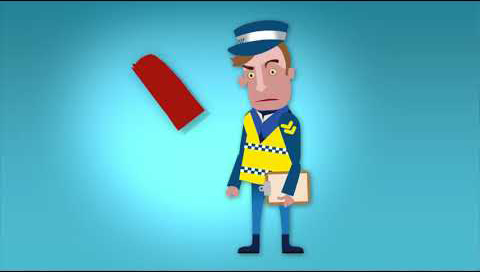 An angry policeman stands with a clipboard in his hand. In front of him is a red ticket.