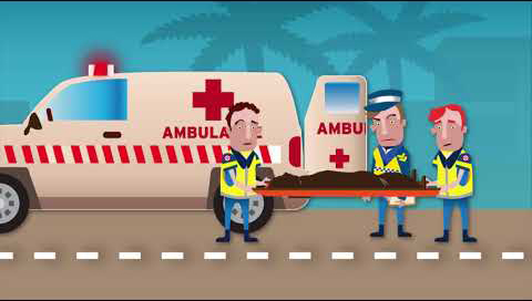 An ambulance is in the background. Two sad looking paramedics carry a stretcher. On the stretcher is a body covered in a blanket. Behind the stretcher is an angry looking policeman.