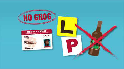 The text No Grog is circled, bringing it to your attention. There's a drivers licence, an L plate for a learner driver, a P plate for provisional driver and a class bottle with a big red cross over it.