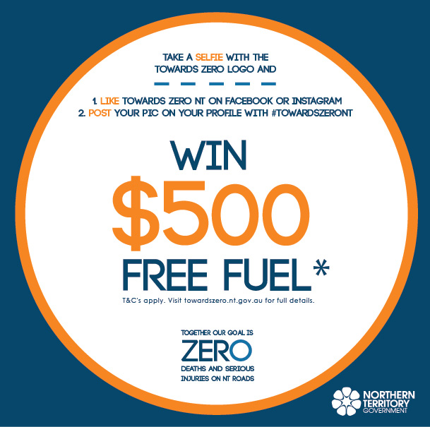 The Towards Zero logo with the words Win $500 free fuel.