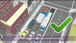 A birds of view of a busy street filled with cars, a truck, a bus and a motorcycle.