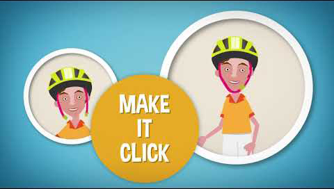 Three circles are on within the image. In the first circle there is a child with his helmet unbuckled. The second circle says, make it click. In the third circle the child is wearing the helmet and the straps are buckled together.