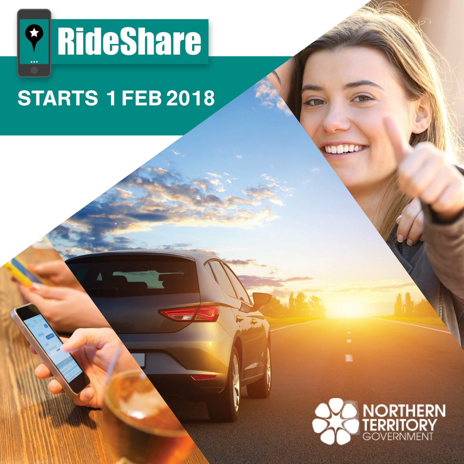 A picture with a car driving into the sunset, a girl with a smile giving a thumbs up and the text Rideshare starts 1 Feb 2018.